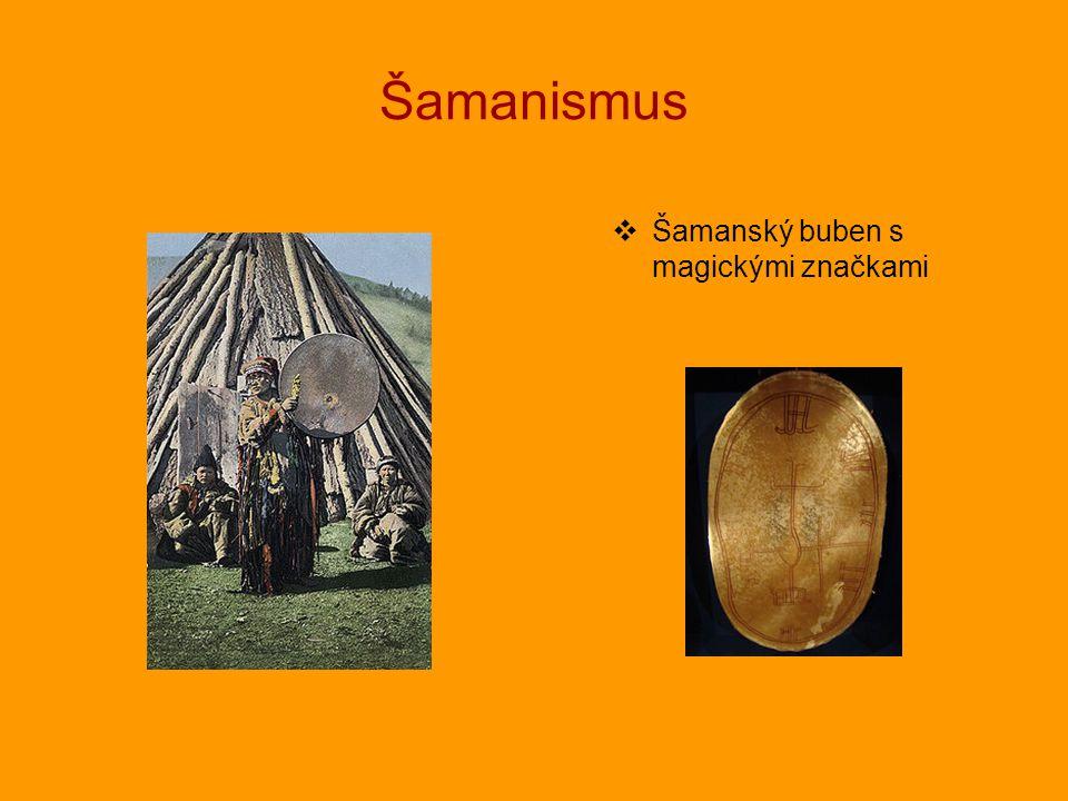 Šamanismus Šamanský buben s magickými značkami