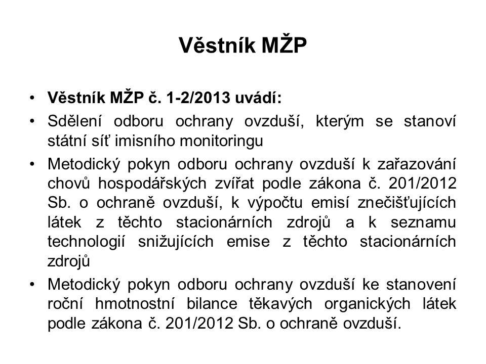Věstník MŽP Věstník MŽP č. 1-2/2013 uvádí: