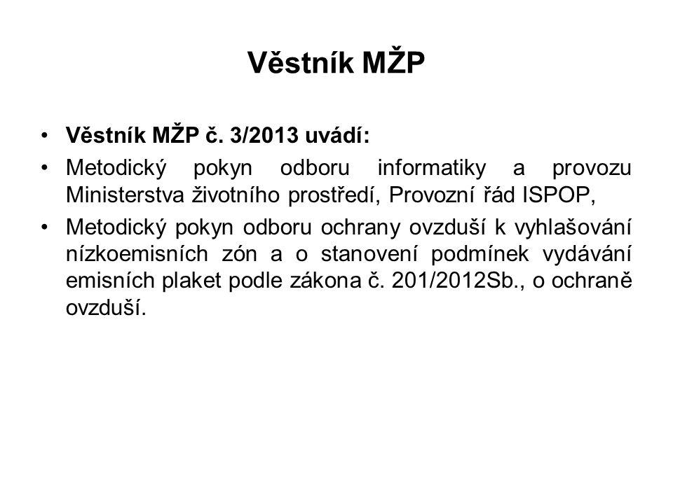 Věstník MŽP Věstník MŽP č. 3/2013 uvádí: