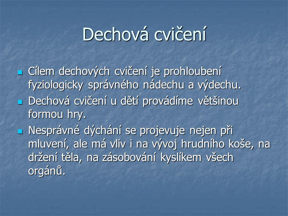Dechová cvičení Cílem dechových cvičení je prohloubení fyziologicky správného nádechu a výdechu.