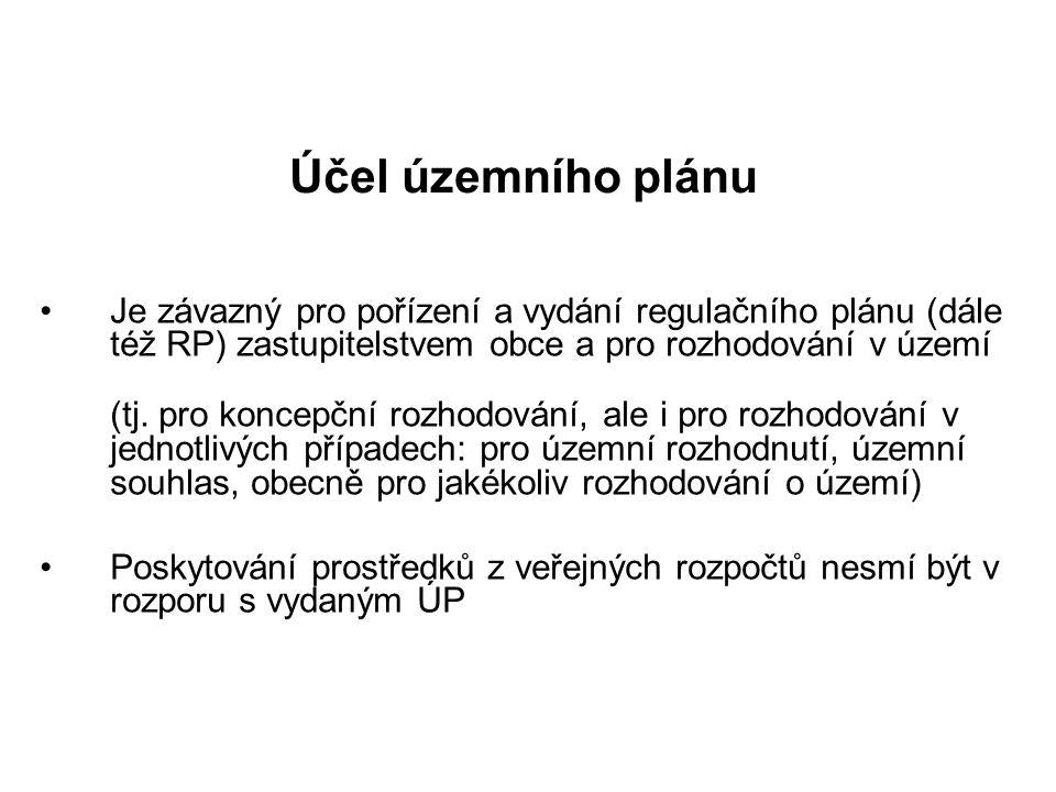 Účel územního plánu Je závazný pro pořízení a vydání regulačního plánu (dále též RP) zastupitelstvem obce a pro rozhodování v území.