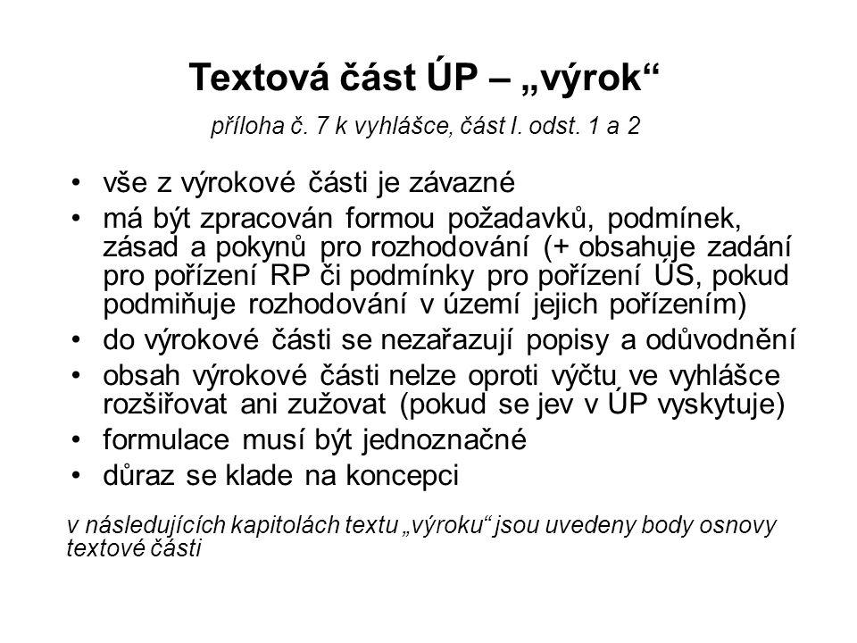 """Textová část ÚP – """"výrok"""