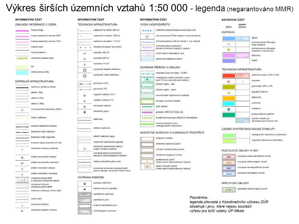 Výkres širších územních vztahů 1:50 000 - legenda (negarantováno MMR)