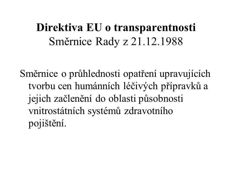 Direktiva EU o transparentnosti Směrnice Rady z 21.12.1988
