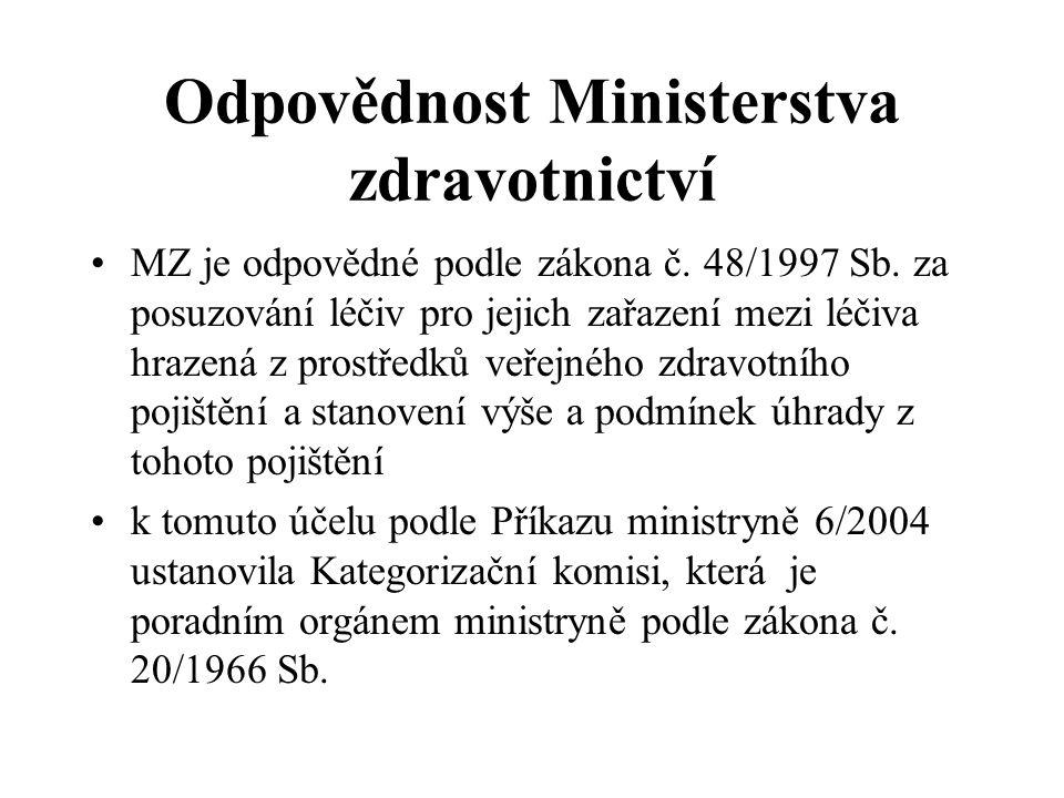 Odpovědnost Ministerstva zdravotnictví