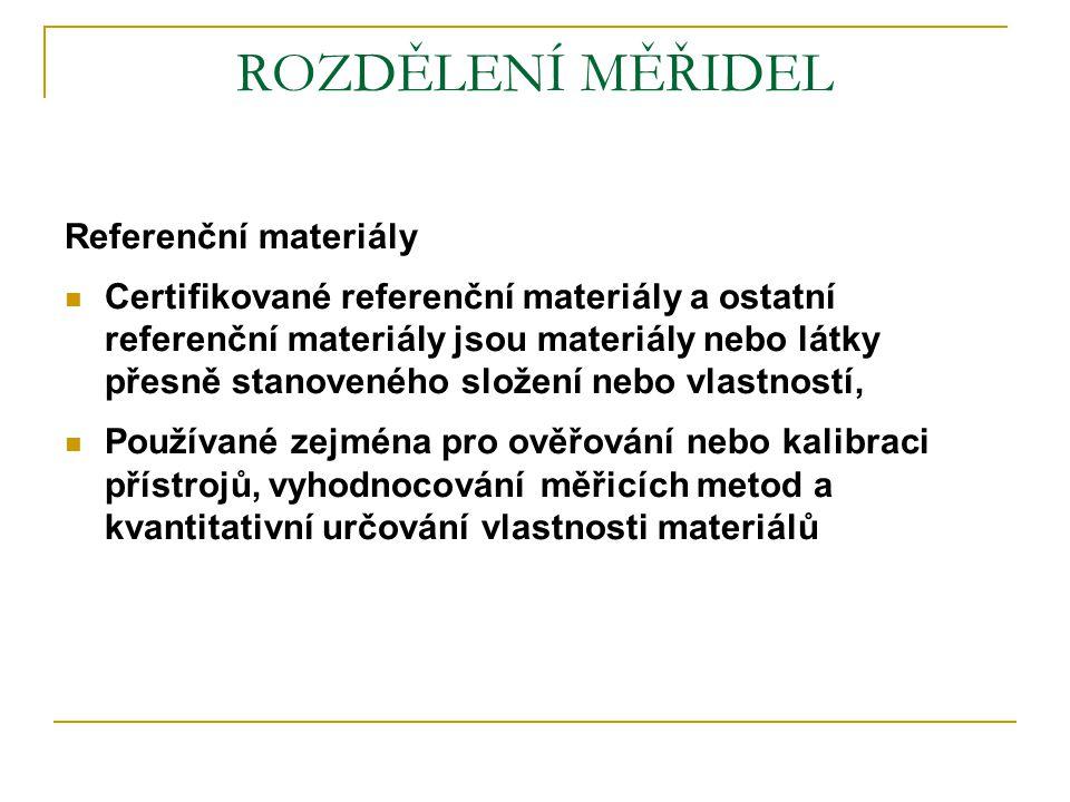 ROZDĚLENÍ MĚŘIDEL Referenční materiály