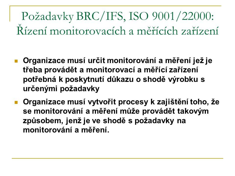 Požadavky BRC/IFS, ISO 9001/22000: Řízení monitorovacích a měřících zařízení