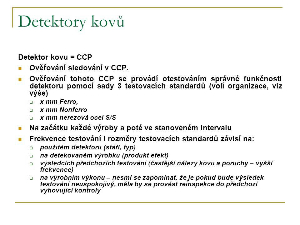 Detektory kovů Detektor kovu = CCP Ověřování sledování v CCP.