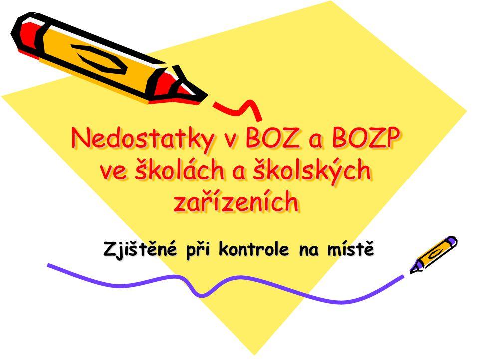 Nedostatky v BOZ a BOZP ve školách a školských zařízeních