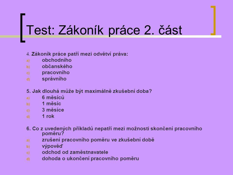 Test: Zákoník práce 2. část