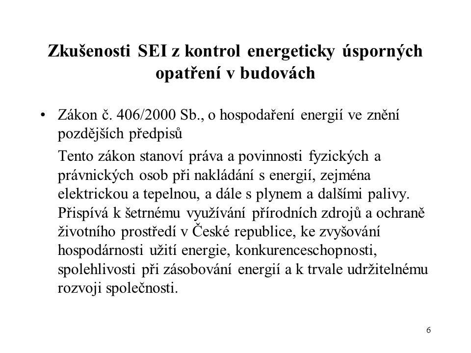 Zkušenosti SEI z kontrol energeticky úsporných opatření v budovách