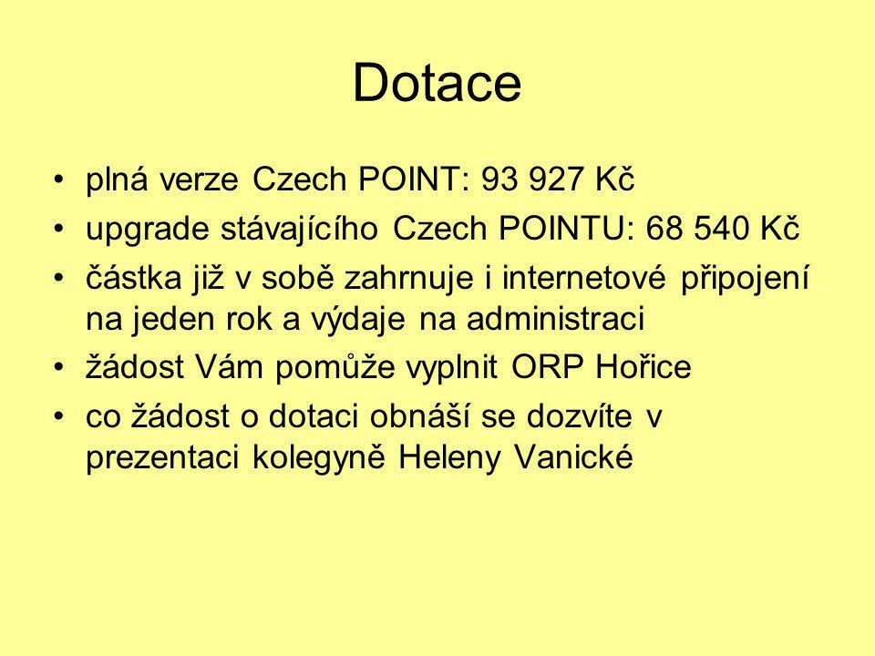 Dotace plná verze Czech POINT: 93 927 Kč
