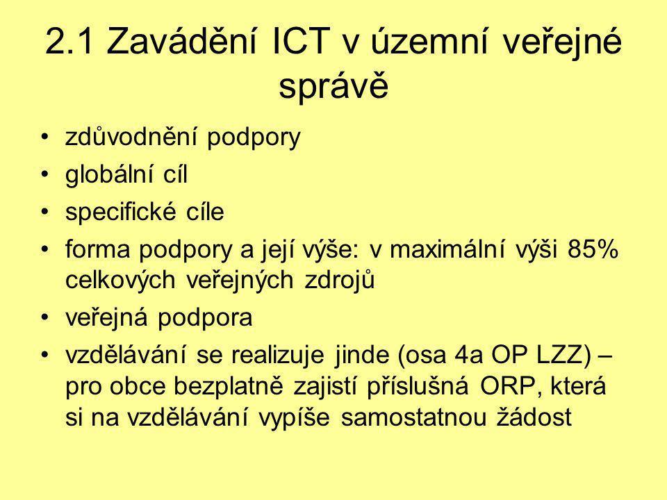 2.1 Zavádění ICT v územní veřejné správě