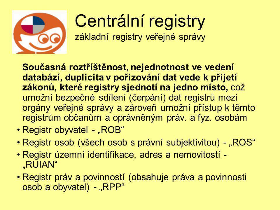 Centrální registry základní registry veřejné správy