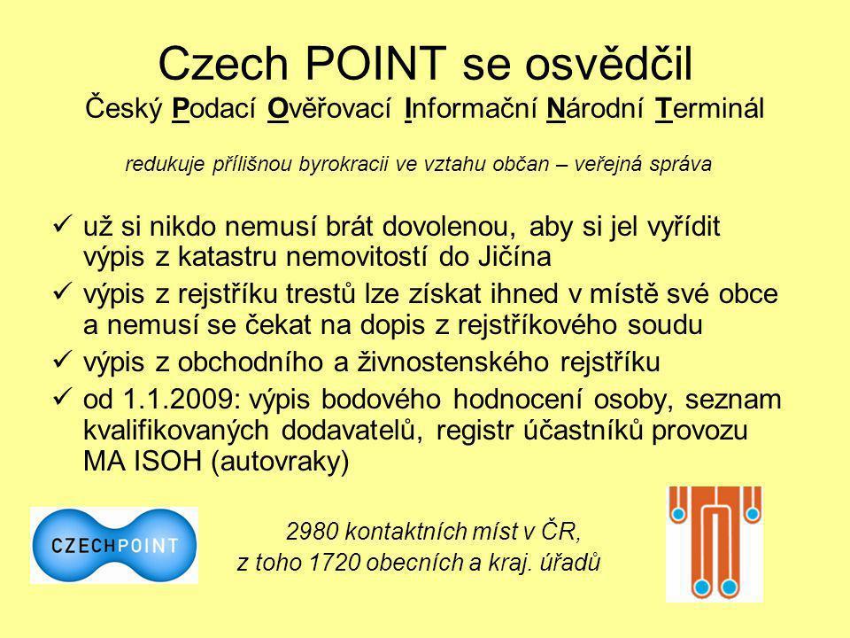 Czech POINT se osvědčil Český Podací Ověřovací Informační Národní Terminál
