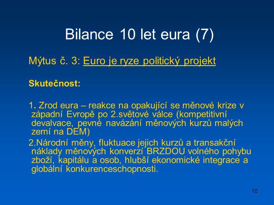 Bilance 10 let eura (7) Mýtus č. 3: Euro je ryze politický projekt