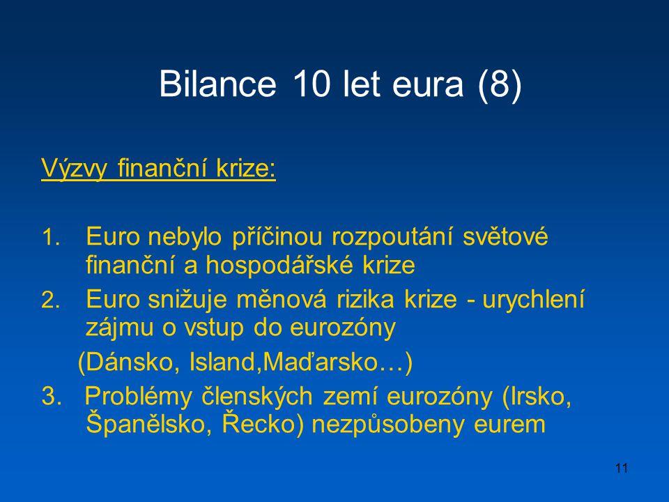 Bilance 10 let eura (8) Výzvy finanční krize: