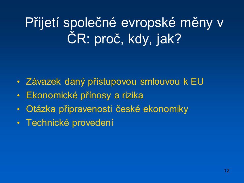 Přijetí společné evropské měny v ČR: proč, kdy, jak