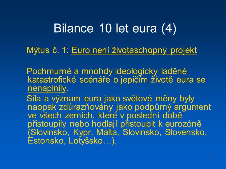 Bilance 10 let eura (4) Mýtus č. 1: Euro není životaschopný projekt