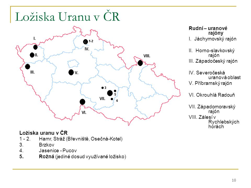 Ložiska Uranu v ČR Ložiska uranu v ČR Rudní – uranové rajóny