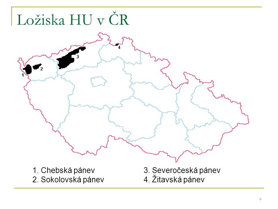 Ložiska HU v ČR 1. Chebská pánev 3. Severočeská pánev