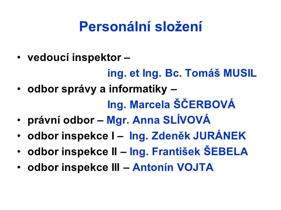 Personální složení vedoucí inspektor – ing. et Ing. Bc. Tomáš MUSIL