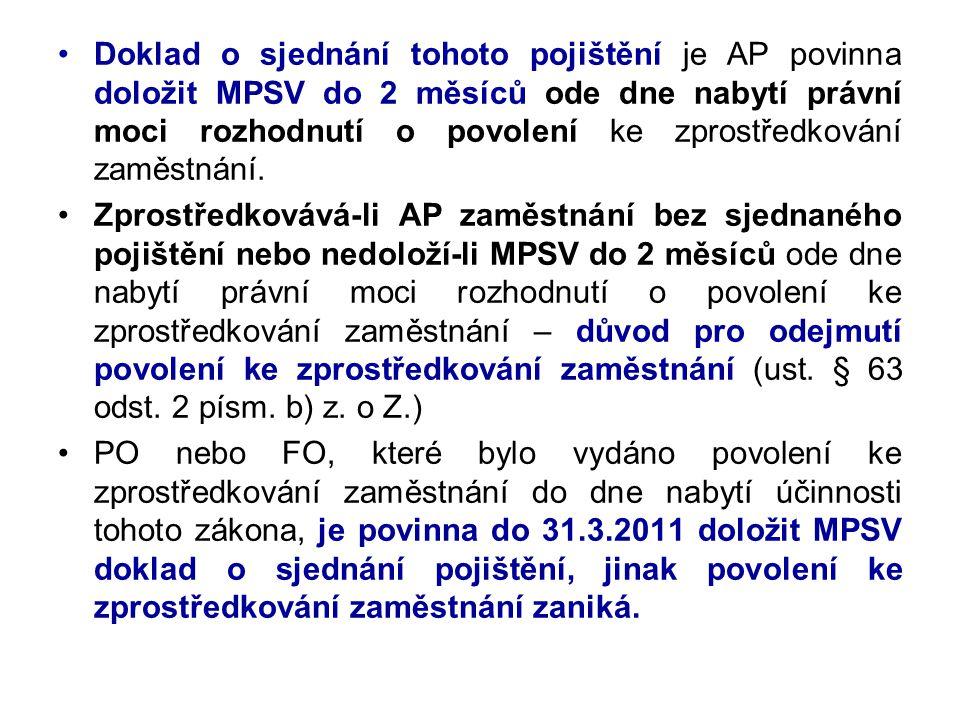 Doklad o sjednání tohoto pojištění je AP povinna doložit MPSV do 2 měsíců ode dne nabytí právní moci rozhodnutí o povolení ke zprostředkování zaměstnání.