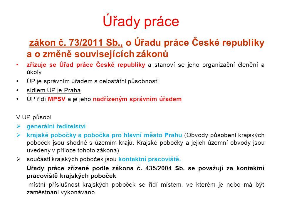 Úřady práce zákon č. 73/2011 Sb., o Úřadu práce České republiky a o změně souvisejících zákonů.