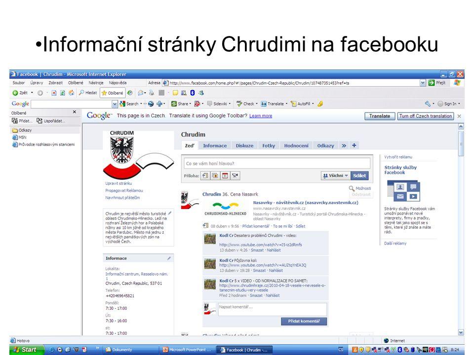 Informační stránky Chrudimi na facebooku