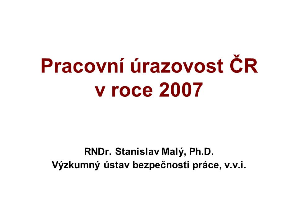 Pracovní úrazovost ČR v roce 2007