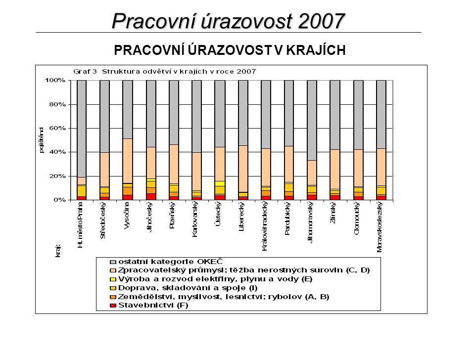 Pracovní úrazovost 2007 PRACOVNÍ ÚRAZOVOST V KRAJÍCH