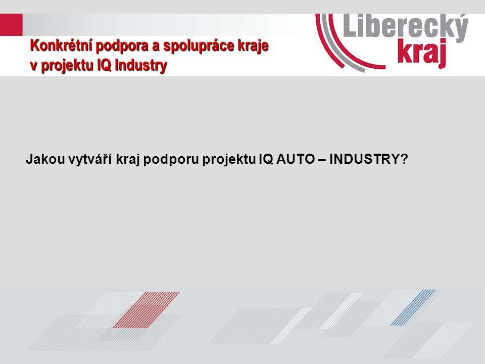Konkrétní podpora a spolupráce kraje v projektu IQ Industry