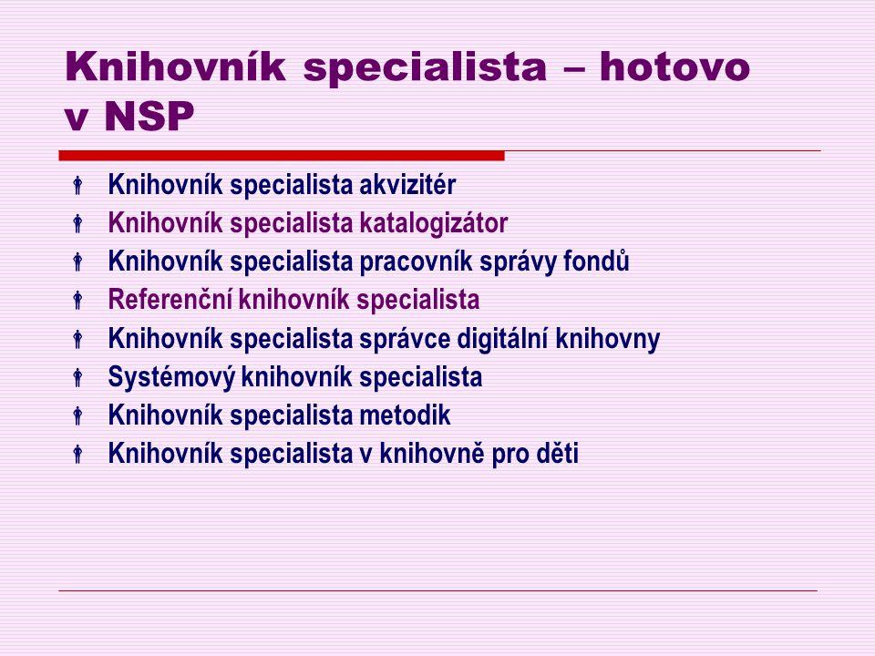 Knihovník specialista – hotovo v NSP