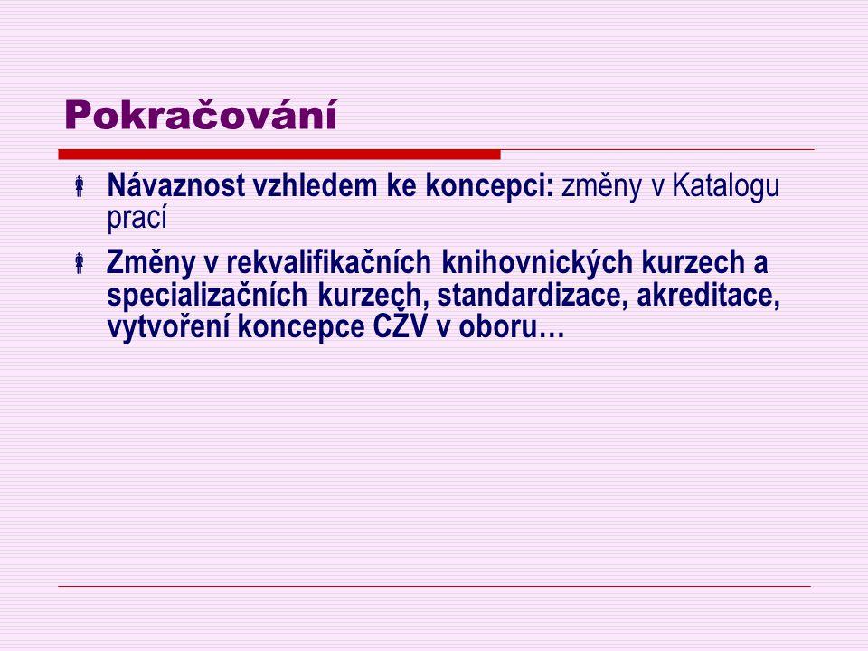Pokračování Návaznost vzhledem ke koncepci: změny v Katalogu prací