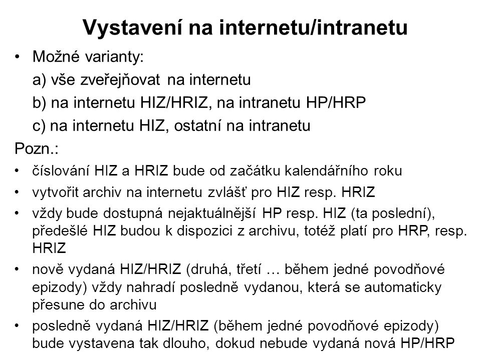 Vystavení na internetu/intranetu
