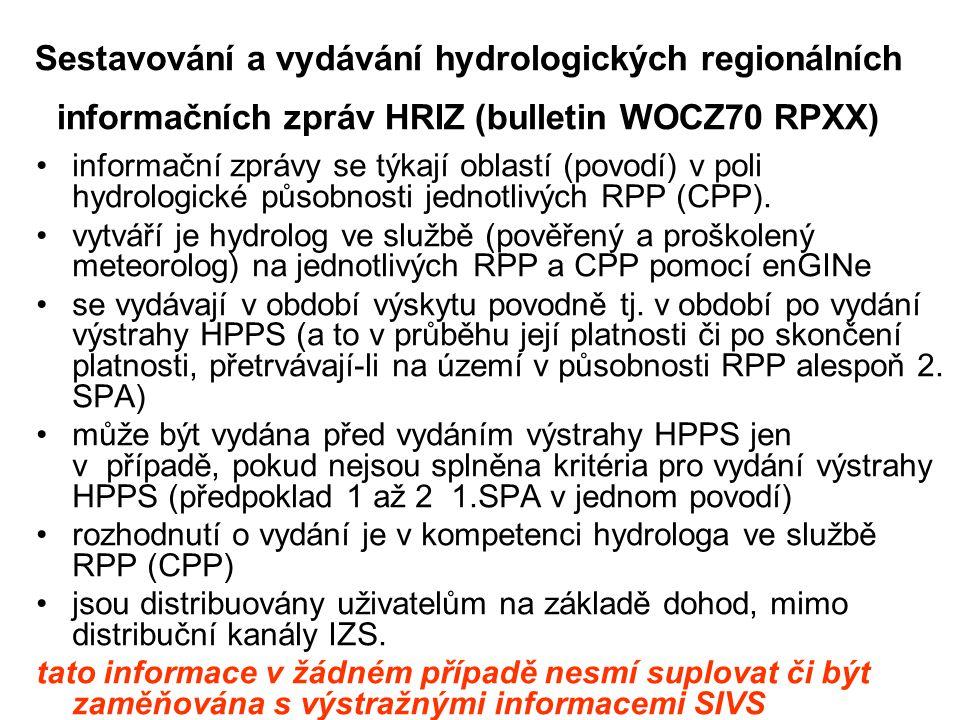 Sestavování a vydávání hydrologických regionálních informačních zpráv HRIZ (bulletin WOCZ70 RPXX)