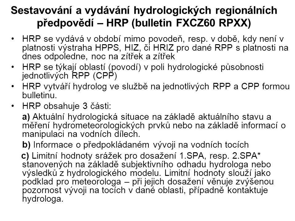 Sestavování a vydávání hydrologických regionálních předpovědí – HRP (bulletin FXCZ60 RPXX)