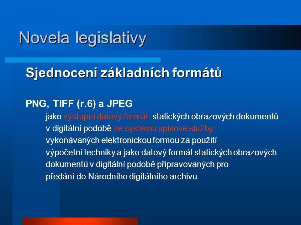 Novela legislativy Sjednocení základních formátů