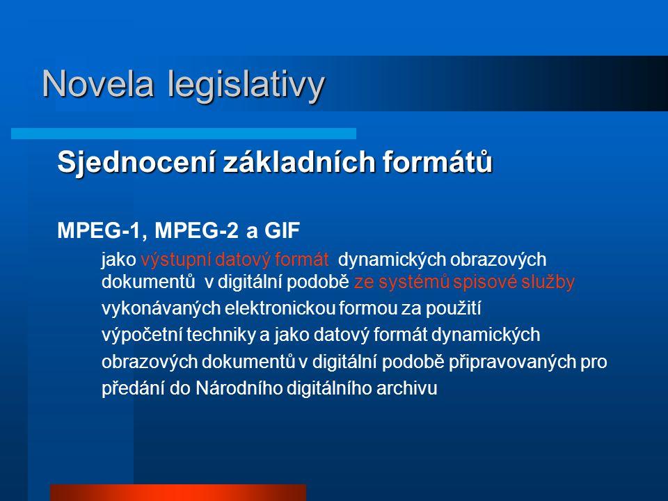 Novela legislativy Sjednocení základních formátů MPEG-1, MPEG-2 a GIF