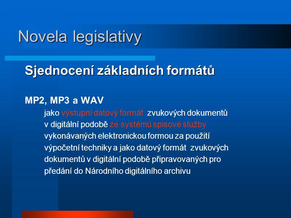Novela legislativy Sjednocení základních formátů MP2, MP3 a WAV
