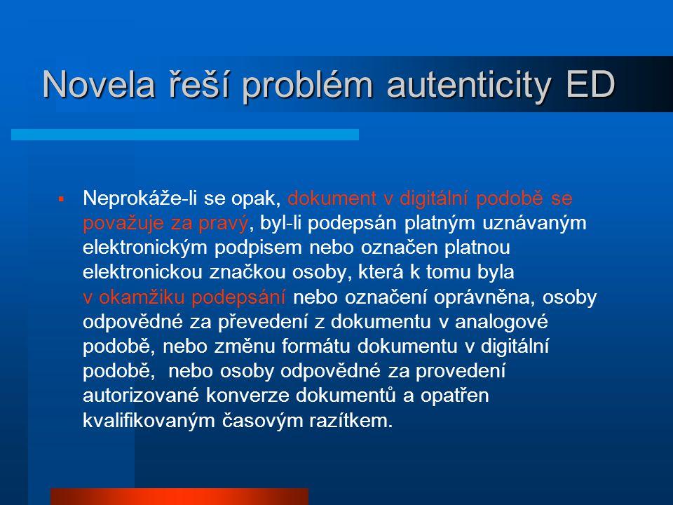 Novela řeší problém autenticity ED