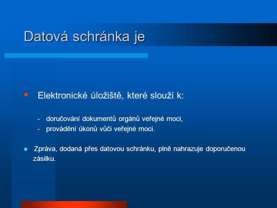 Datová schránka je Elektronické úložiště, které slouží k: