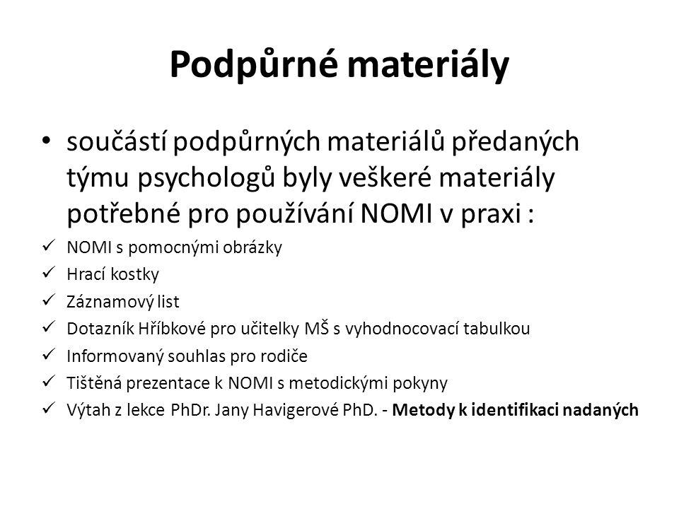 Podpůrné materiály součástí podpůrných materiálů předaných týmu psychologů byly veškeré materiály potřebné pro používání NOMI v praxi :