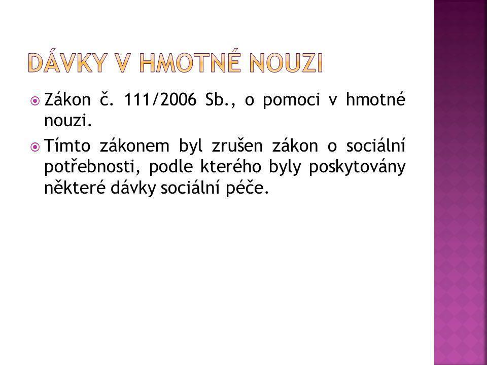 Dávky v hmotné nouzi Zákon č. 111/2006 Sb., o pomoci v hmotné nouzi.