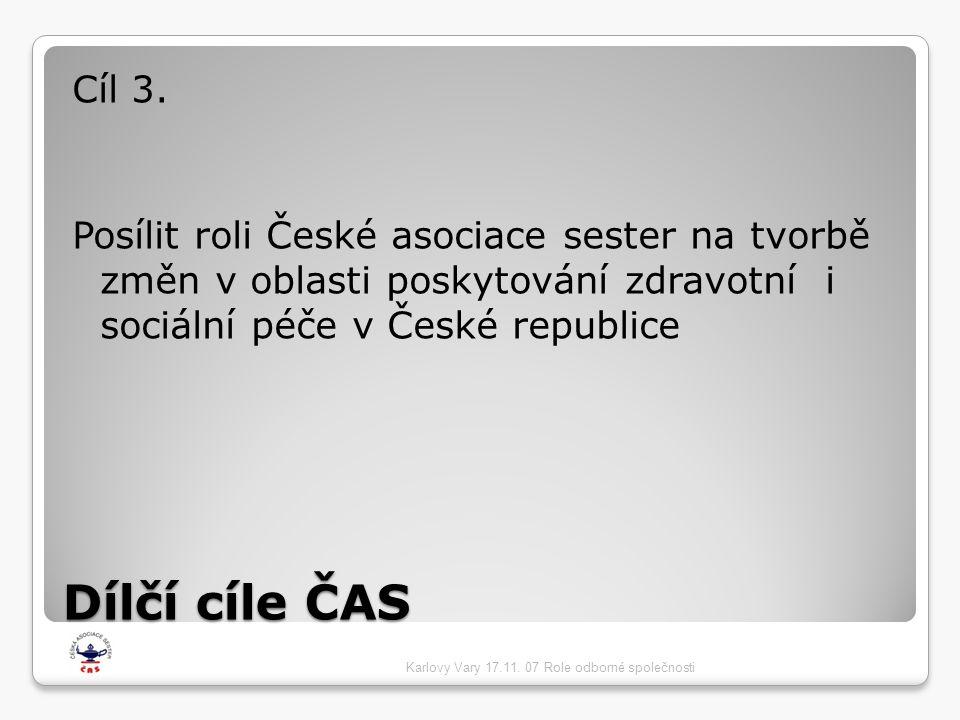 Cíl 3. Posílit roli České asociace sester na tvorbě změn v oblasti poskytování zdravotní i sociální péče v České republice.