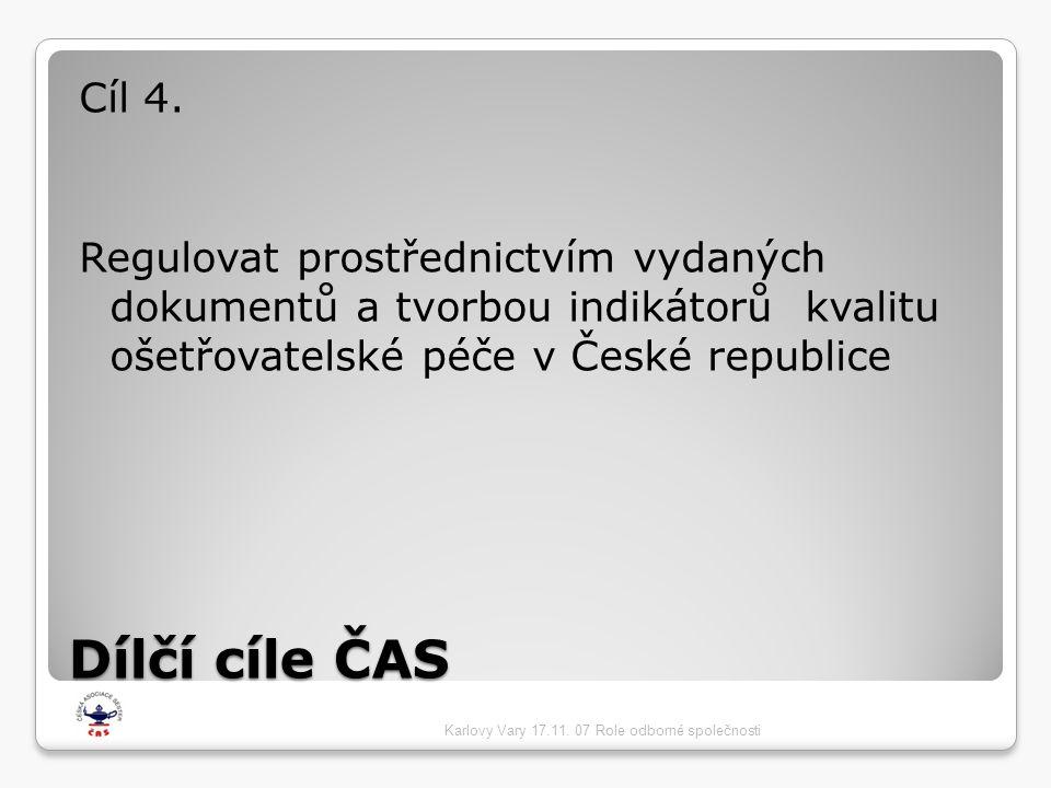 Cíl 4. Regulovat prostřednictvím vydaných dokumentů a tvorbou indikátorů kvalitu ošetřovatelské péče v České republice.