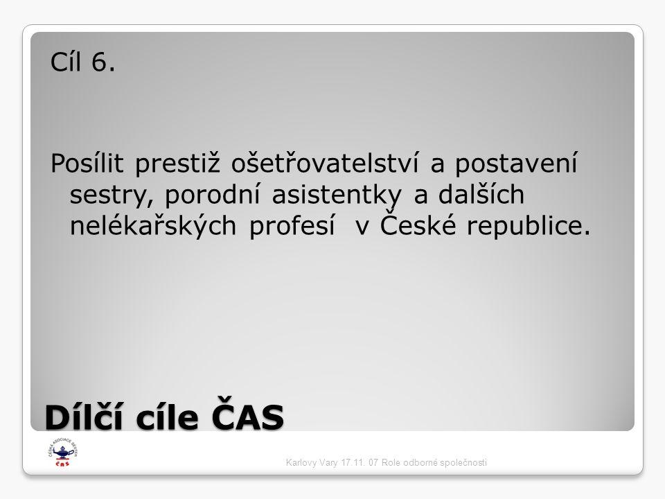 Cíl 6. Posílit prestiž ošetřovatelství a postavení sestry, porodní asistentky a dalších nelékařských profesí v České republice.