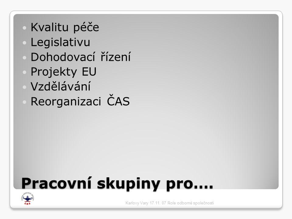 Pracovní skupiny pro…. Kvalitu péče Legislativu Dohodovací řízení