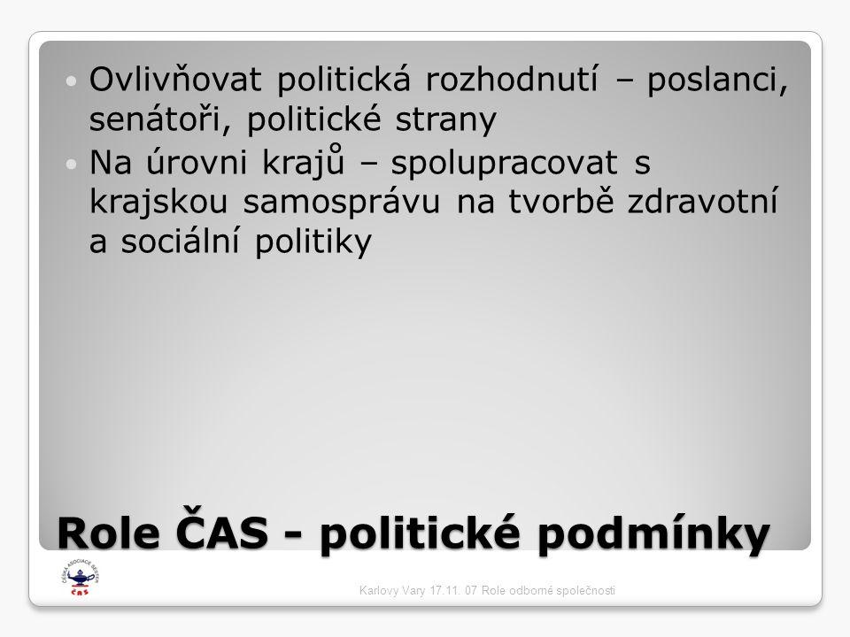 Role ČAS - politické podmínky