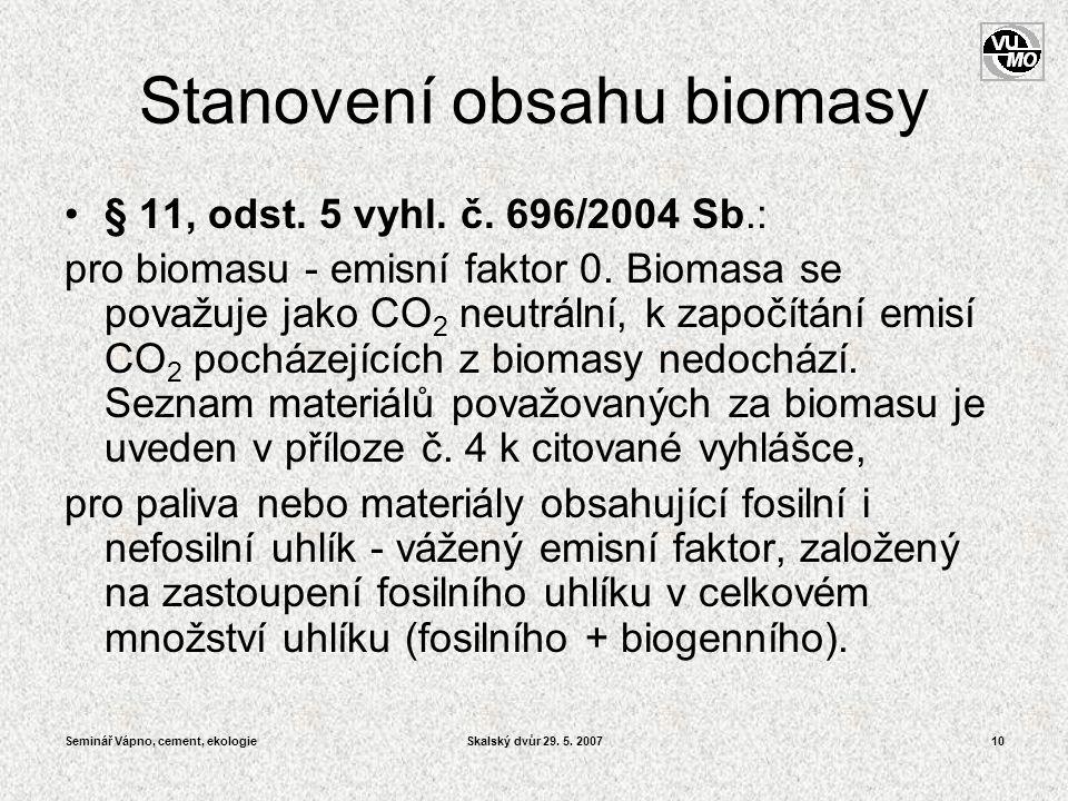 Stanovení obsahu biomasy